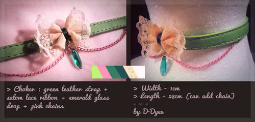 FOR SALE : Green-Pink Choker (open) by D-Dyee