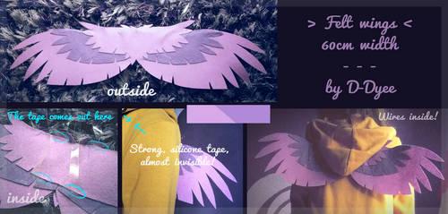 FOR SALE : Felt Lavender Wings (open) by D-Dyee