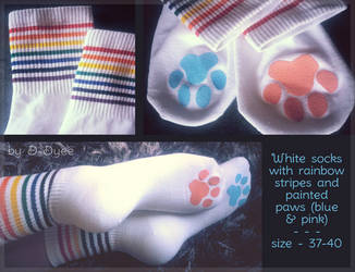 FOR SALE : Rainbow Paw Socks by D-Dyee