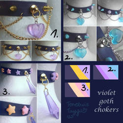 FOR SALE : Violet Goth Chokers (closed)
