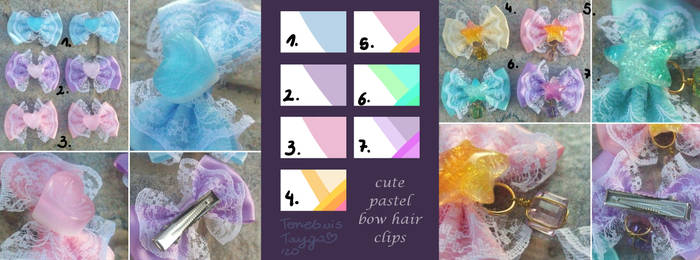 FOR SALE : Cute Pastel Bow Hair Clips (7/7 open)