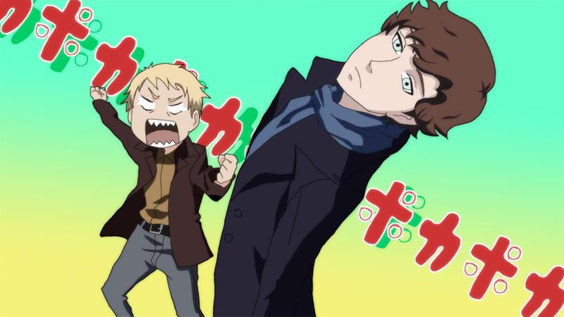 John hits Sherlock/ poka-poka style by Atharple