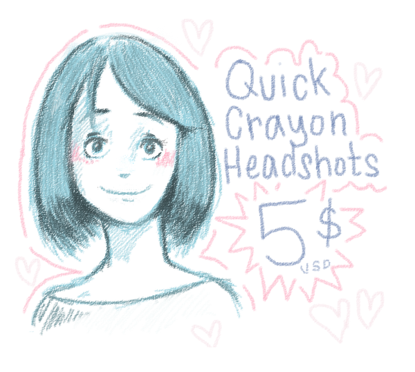 Commission Info: Quick Crayon Headshots by FreedomDrawer