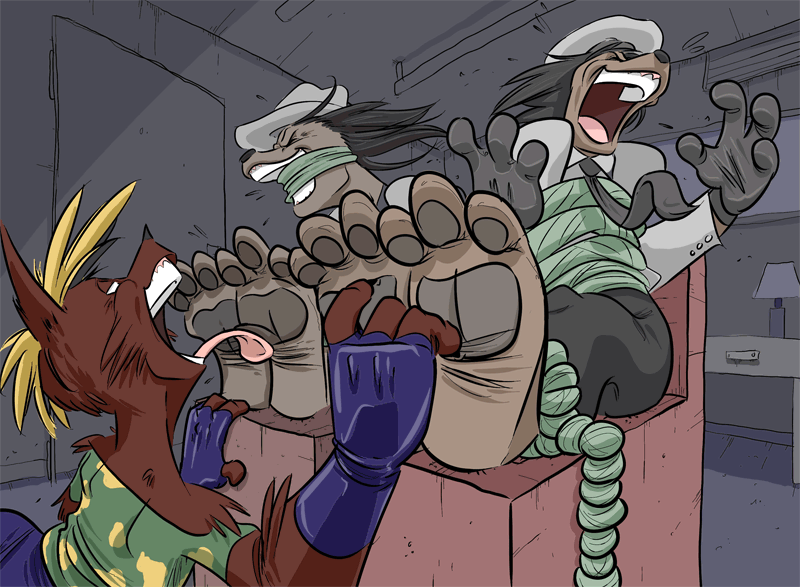 Commission_Mob Anthros Tickled by PawFeather