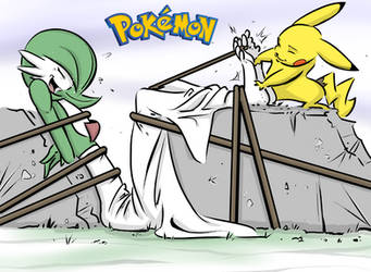 Pikachu Tickles Gardevoir Final by PawFeather