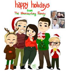 Christmas card 5 Fam chibi commission