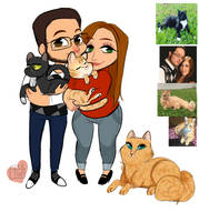 Blueiris hubby wife chibi plus cats by temporaryWizard