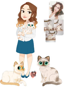 Alexane 3 Kitties and chibi commission