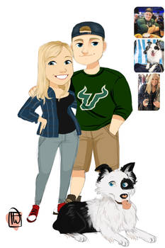 Erin chibi couple with pup commission