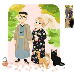 wedding Couple with kitties