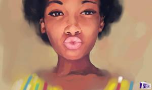curly hair girl portrait