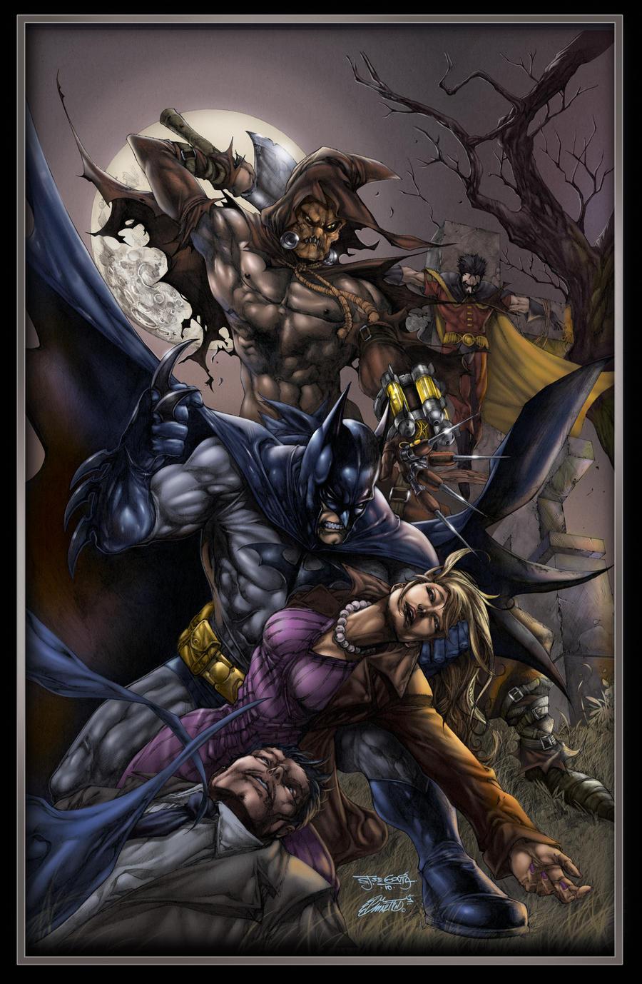 Batman vs scarecrow colors by aladecuervo