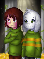 Chara And Asriel by Jany-chan17