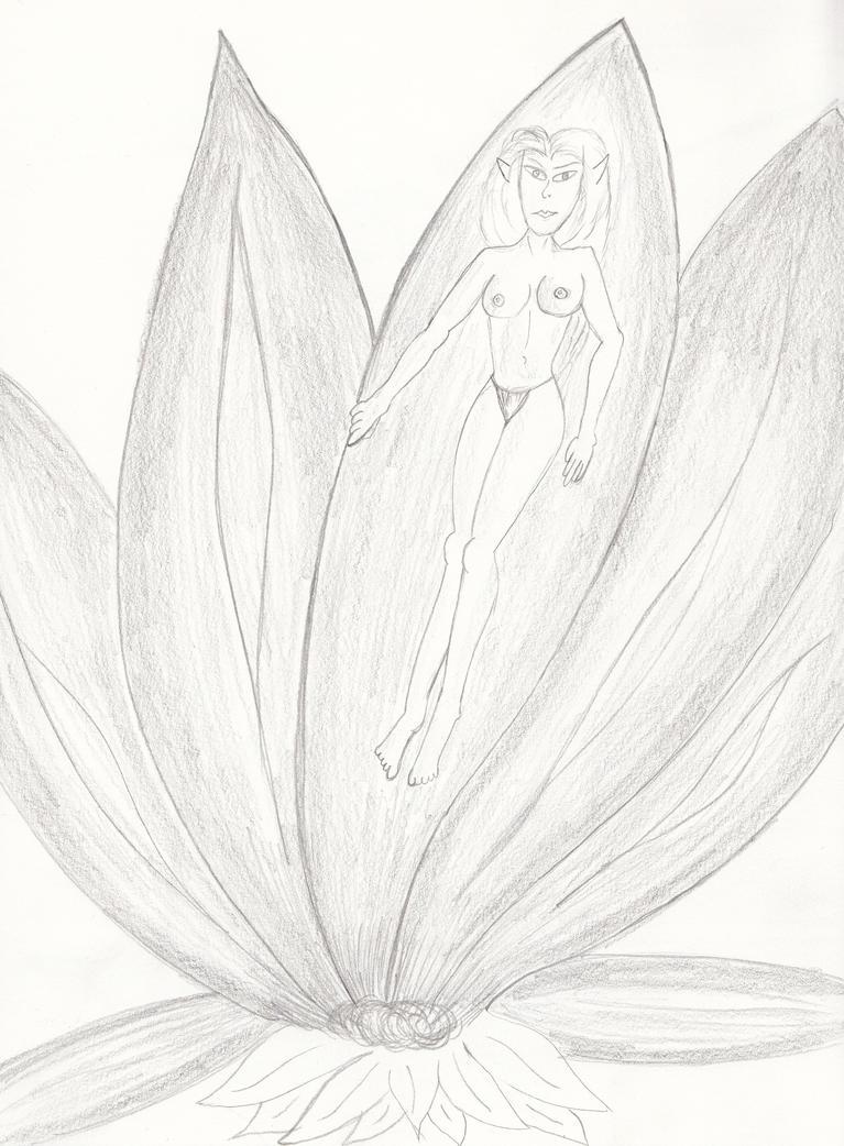druid in a flower by beedoll