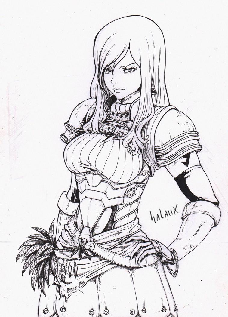 Scarlet Erza -Fairy Tail- (ink) by Salaiix on DeviantArt