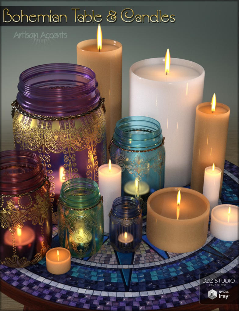 Bohemian Table and Candles by cosmosue