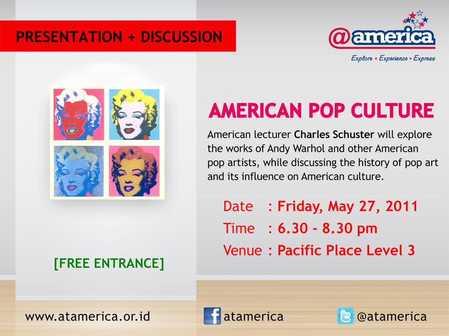 american pop culture In the american world, the presence of african culture is sometimes fully embodied and sometimes leaves only a trace africa in the american imagination: popular culture, racialized identities, and african visual culture explores this presence, examining mattel's world of barbie, the 1996 sports.