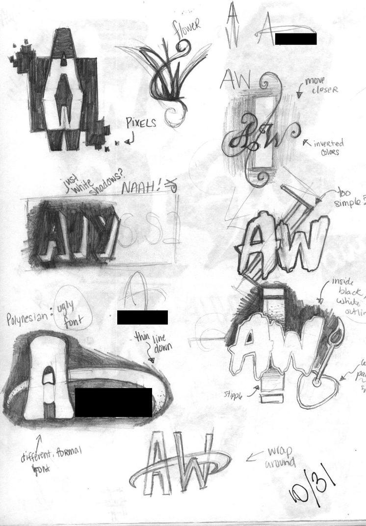 Sketch: Name Logo Brainstorm by ShoulderDemon