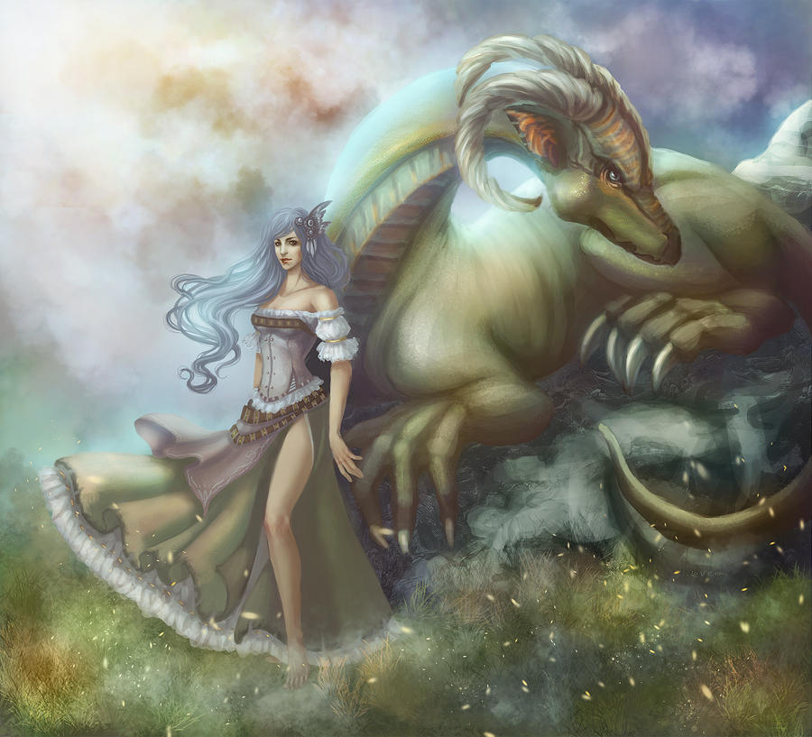 Girl and Dragon by Leventart