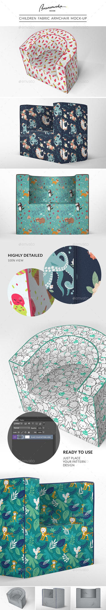 Children Fabric Armchair Mock-up - Product Mock-Up by theanthnonyrich