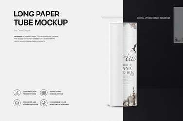 Long kraft paper tube mockup by theanthnonyrich