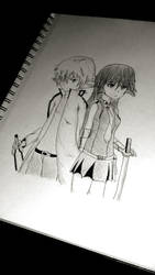 akame and tatsumi sketch by XblackpaperstarX