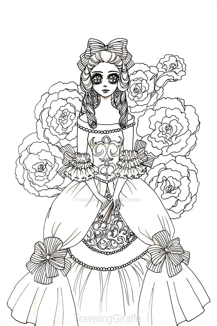 marie antoinette coloring pages - marie antoinette by travelinggiraffe on deviantart