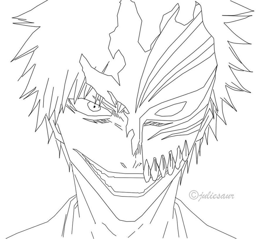 Ichigo lineart by juliesaur on deviantart for Ichigo coloring pages