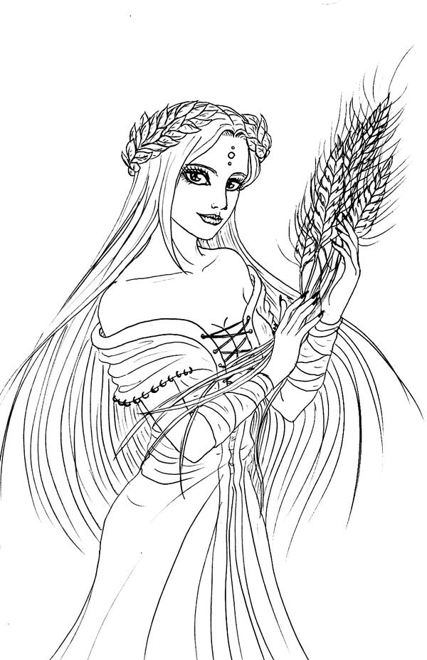 demeter greek goddess drawing -#main