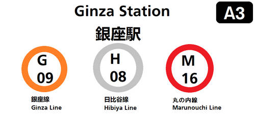 Tokyo Metro Ginza Station Sign by SubwayArtist47