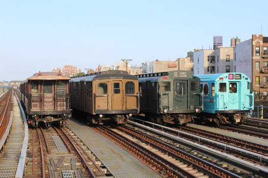 Parade of Trains side-by-side at Ocean Parkway