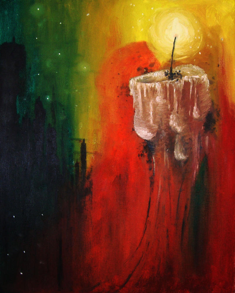 A candle in the night by lebloe on deviantart for Candle painting medium