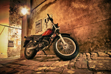 Motorcycle in a narrow street