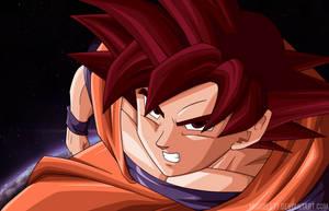 Goku Super Saiyan God by Miguele77
