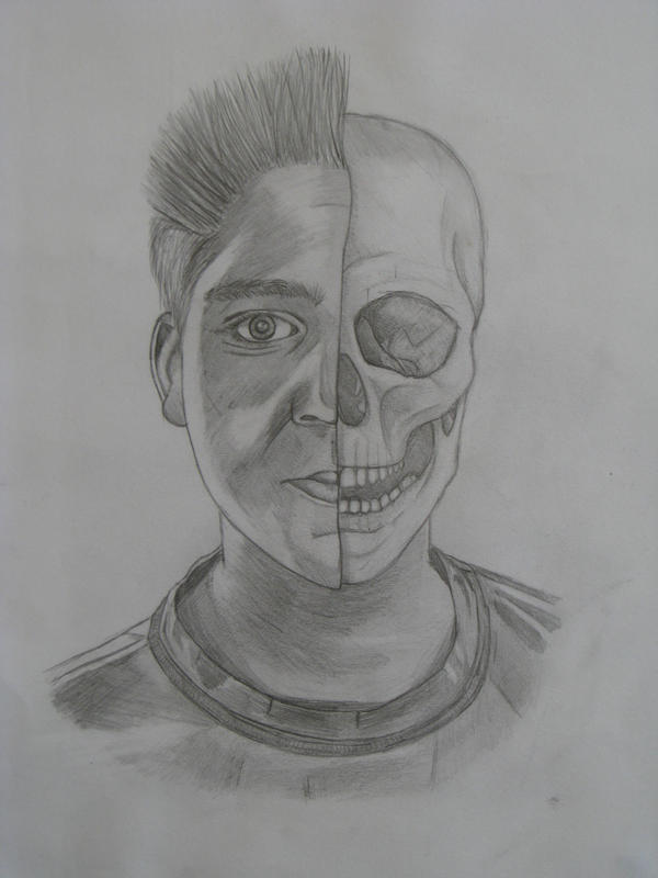 Skeleton Face Line Drawing : Half skull self portrait by eyehughes on deviantart