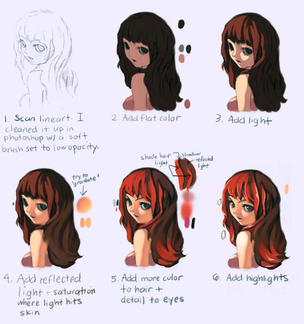 Color Tutorial Anime Girl By Tahopaints On Deviantart