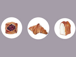 Watercolor: Bread and Pastries by taho