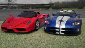Ferrari Enzo vs Dodge Viper GTS-R Concept s1-01