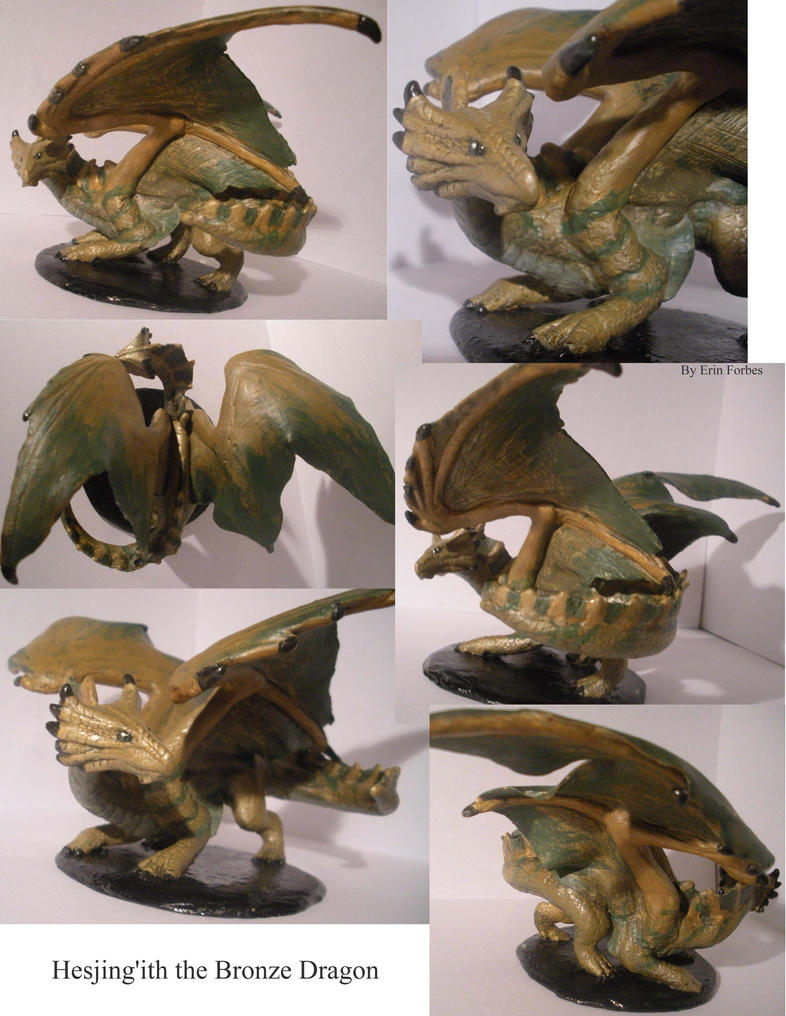 Bronze Dragon Sculpture -- Hesjing'eth by WingedYoshi222