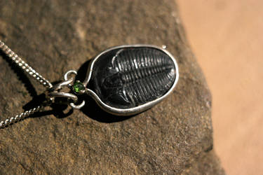 Trilobite with Russian Chrome Diopside,Pendant WIP