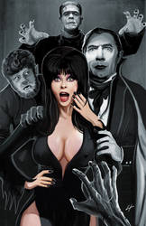 Elvira and Classic Monsters by DreadedDinosaur