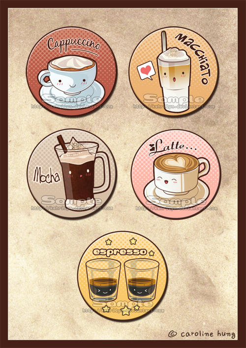 Love Coffee - Button Set by kehrilyn
