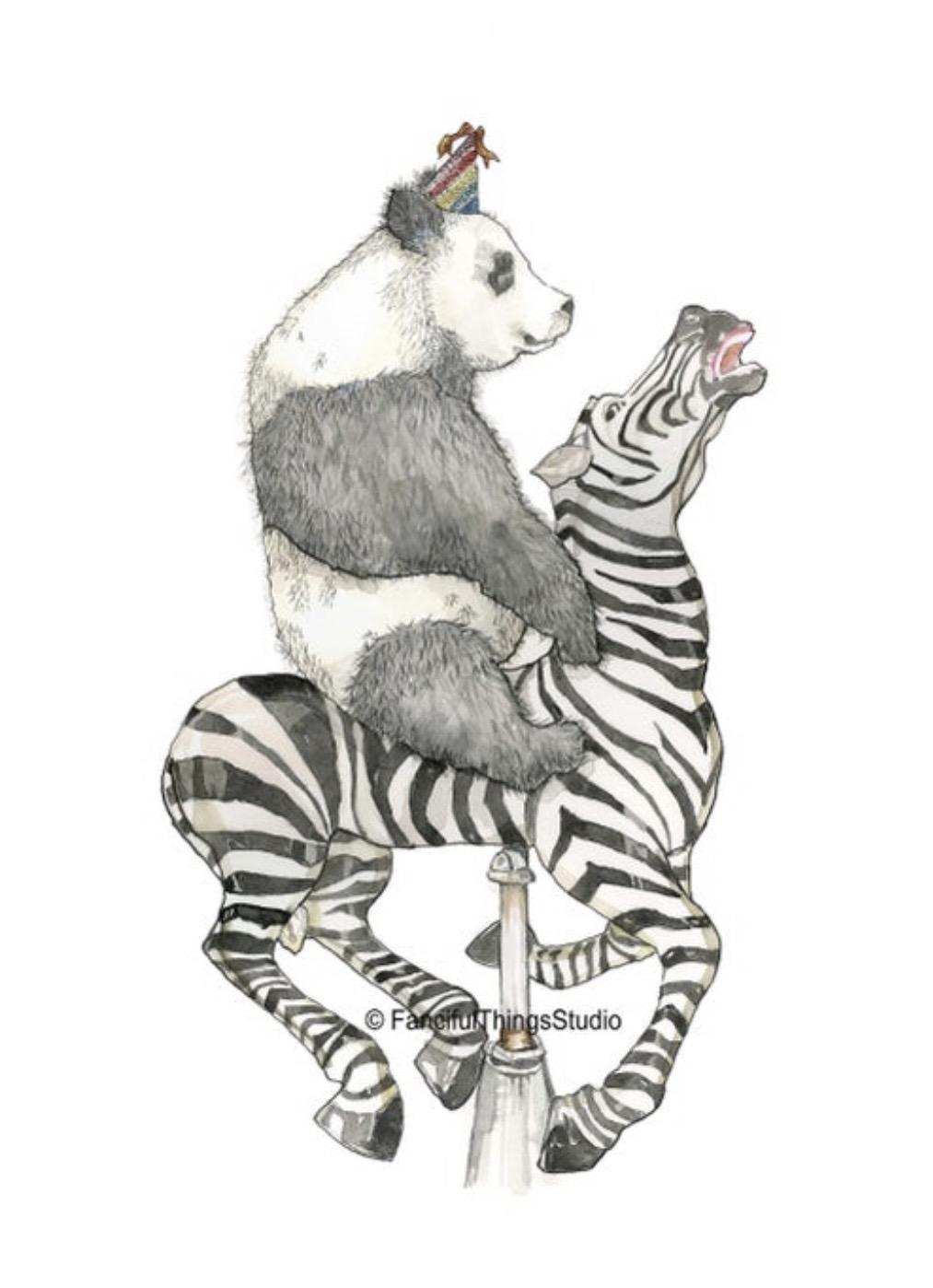 Panda on a Carousel Zebra