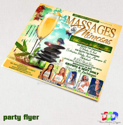 Massage ad Mimosas party flyer by PhilVision