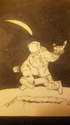 skateboard on moon by NilocG