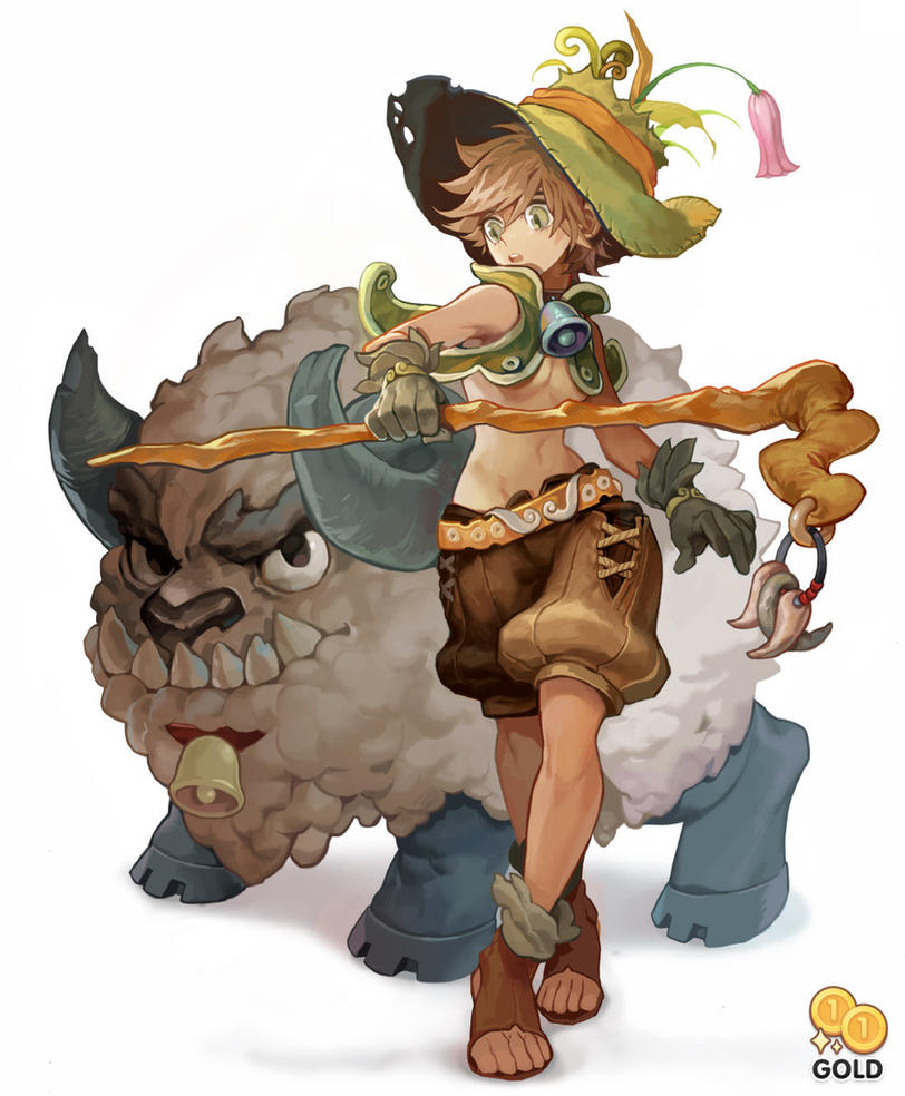 Wakfu Anime Character Design : Sheep and girl by gold on deviantart