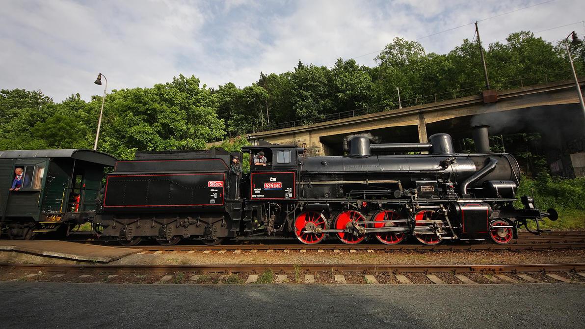 Steam locomotive 434.2186 at Praha - Branik by DusanPavlicek