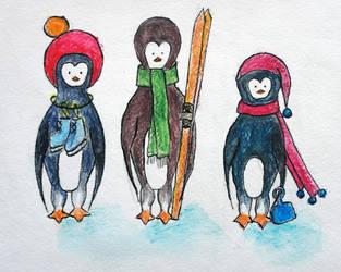 Penguin`s winter fun