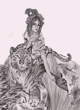 anime girl with tiger
