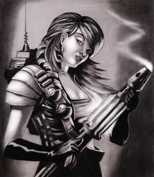 girl with plasma cannon gun